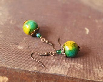 Green Yellow Earrings Beaded Earrings Green Yellow Dangle Earrings Green Yellow Jewelry Gift for her
