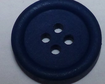 Small round hand painted wooden buttons – Blue