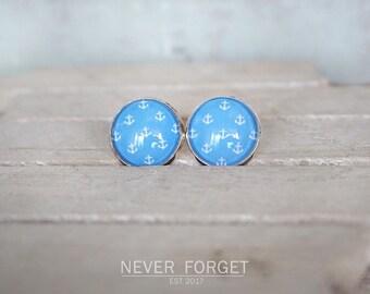 "Stud Earrings ""Blue Anchor""-16 mm/pair"