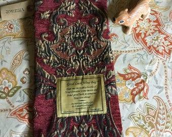 Good Luck Burgundy Brocade Wine Bag-Heirloom Gift Bag/Fabric