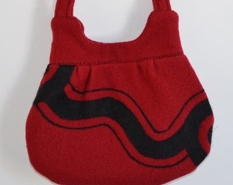 Purse Red Black Needle Felted Wavy Line Design Eco Friendly