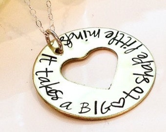 Teacher Appreciation Necklace-Teacher Necklace-It takes a big heart to shape little minds necklace-end of school year teacher gift