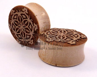 """Grateful Flower of Life Maple Wooden Plugs PAIR 7/16"""" (11mm) through 2"""" (51mm) including 1/2"""" 9/16"""" 5/8"""" 11/16"""" 3/4"""" 13/16"""" 7/8"""" Ear Gauges"""