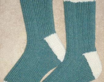Hand Knit Mens or Womens 100 % Wool Heavy Boot, Hiking, Skiing, Snowboarding Socks (B-007)