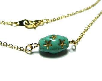 Vintage Czech Glass Bead Necklace, Single Bead Necklace, Vintage Bead Necklace, Chain Necklace, Bead Necklace, Simple Necklace, star jewelry