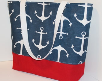 Nautical Tote Beach bag in ANCHORS Navy blue and Red Standard size . great bridesmaid gifts . Monogrammed Available
