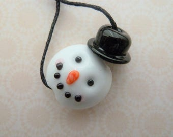 handmade lampwork glass snowman bead, UK novelty Christmas focal