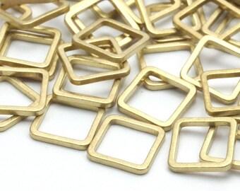 Geometric Brass Pendant, 50 Raw Brass Square Connectors (8x1mm) Bs-1115