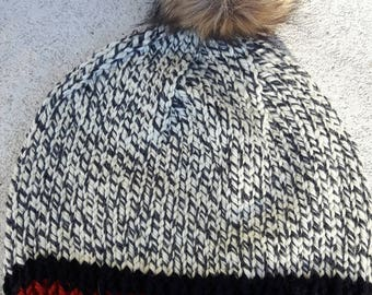 100% Wool Chunky Hand Knit Work Sock Inspired Variegated Ladies' Teen Beanie winter Hat Super Warm Faux Fur Pompom Removeable Unisex Grey