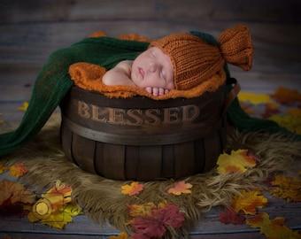 Pumpkin Sack Hat - pumpkin hat - newborn orange hat - newborn knit hat