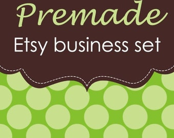 Green Polka Dot -Banner, Avatar and More - 11 Piece Premade Etsy Shop Business Set