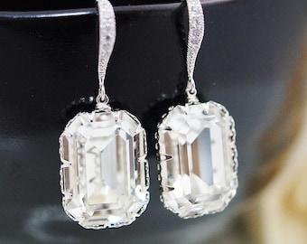 Wedding Bridal Jewelry Bridal Earrings Bridesmaid Earrings Cubic Zirconia Ear wires and Swarovski Crystal Rectangle drops dangle earrings