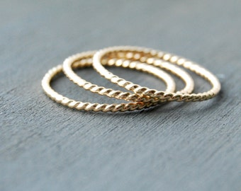 Twisted Stacking Rings, Stacking Rings, Gold Stacking Rings, Twisted Rings, Small Rings, Layering Rings, Gold Twisted Rings