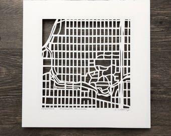 Minneapolis, MN hand cut map ORIGINAL