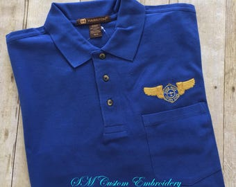Wing Nuts Flying Club--Embroidered Pocket Polo Shirt