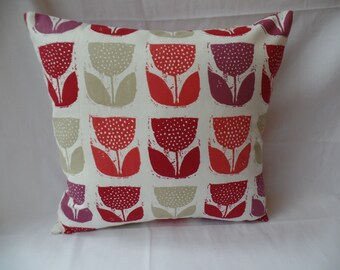 """Clearance Modern 16"""" red, cream purple flowered cushion cover, scatter cushion, pillow case"""