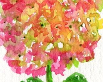 ACEO Original Pink and Green Hydrangea Original Watercolor Painting  Art Card, SharonFosterArt, hydrangea art