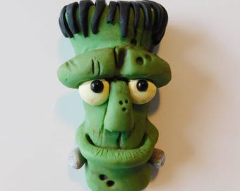 OOAK Refrigerator Magnet, Polymer Clay, It's Frank, Kitchen Decor, The Monster, Creature Sculpture, Handmade
