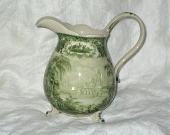 Vintage Green Transferware Pitcher Handpainted Footed