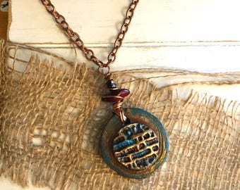 Blue & Gold Mixed Media Necklace - Long Pendant Necklace - Girlfriend Gift - Handmade - Polymer Clay - Wood - Gift Box Included - OOAK