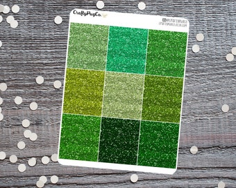 Glitter Headers GREEN // Planner Stickers, Faux Glitter