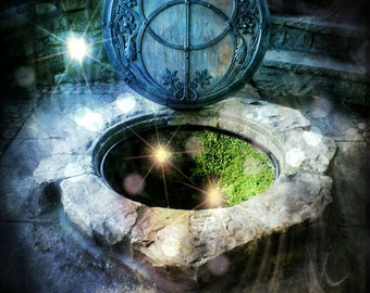 The Chalice Well Peace Garden, Glastonbury Tor World Peace Garden, Wiccan Pagan Ethereal Digital Art Deco, Sacred Chalice Well Avalon Photo
