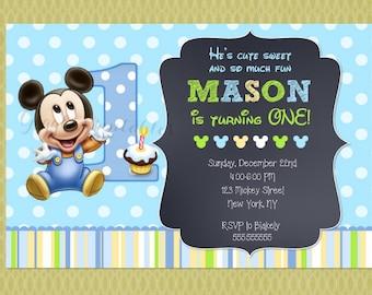 Baby mickey mouse birthday invitation baby mickey baby mickey mouse invitations baby mickey invitations 1st birthday invitations chalkboard filmwisefo