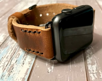Leather Strap for Apple Watch | Rose Gold, Gold, Black,orSilver 42mm 38mm Adapters/Buckle |Handcrafted w/Leather |Handmade w/Horween Leather
