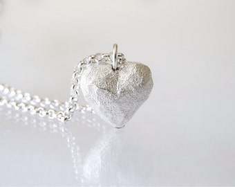 Textured Heart Necklace / Heart Charm in sterling silver