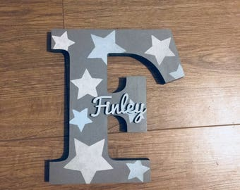 Wooden Name Letter - Wooden Initials - Nursery Letters - Painted Letters - Baby Gifts - Shelf Letter - Shelf Sitter - Nursery Decor - Stars