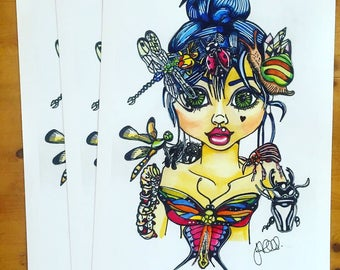 Nest A4 A5 digital prints Secret Garden Minibeasts bugs insects Mythicalponez fairy girl pop surrealism watercolour illustration ink