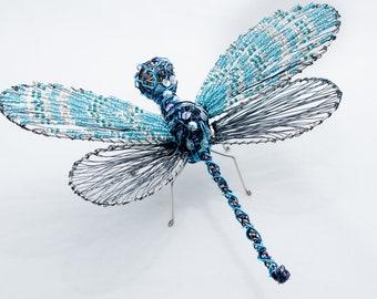 "Dragonfly Art - Blue Dragonfly - Wire art - ""Mystique"" Dragonfly"