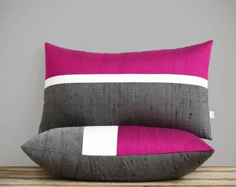 Fuchsia Silk Horizon Line Pillow Cover with Cream and Charcoal Gray Stripes by JillianReneDecor, Luxury Gift for Her, Hot Pink Magenta 12x20