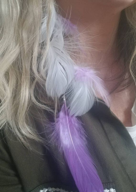 Purple and Gray Feather Extension Earring