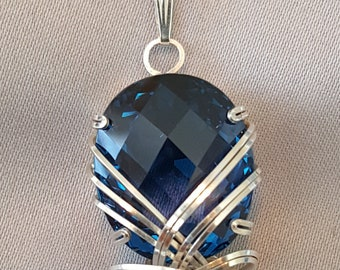 Blue Topaz Necklace Wire Wrapped Pendant Sterling Silver