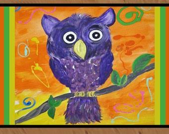 Purple Owl from my art indoor / outdoor floor mat