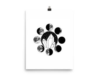 Crystal Moon Phases 8 x 10 Print