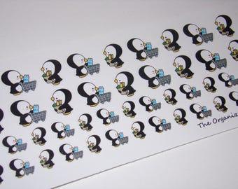 48 supermercados día pegatinas / adhesivos comerciales / el pingüino de la perla ~ gran para el planificador de la vida de Erin Condren