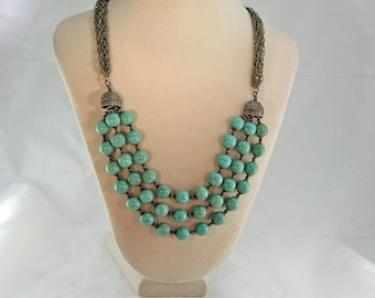 Turquoise-Magnesite-Brass-Triple-Strand-Necklace