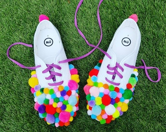 Summer of fun pom pom daps  UK Size 7 - perfect for festivals & picnics - pair of white trainers covered in over 100 multicoloured pom poms