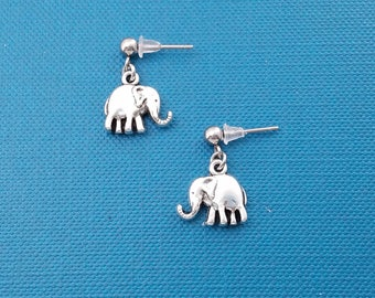 Elephant earrings in silver toned metal.  Elephant earrings.  Elephant charms.  Elephant jewelry.