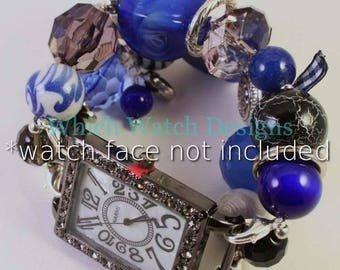 Royale...Chunky Royal Blue, Gray and Black Interchangeable Beaded Watch Band, Charms and Ribbon