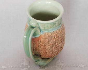 Pottery Coffee Mug, Hand Thrown Stoneware Tea Cup, 10 oz, Lace Texture, Light Green, Light Brown with Large Handle