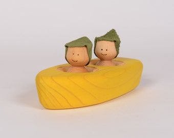 Yellow wooden boat, minimalist wooden bathing toy, wooden rowboat by l'Atelier Cheval de bois
