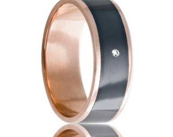 MONTAIGNE 14k Rose Gold Ring with Zirconium Center & White Diamond | 8mm