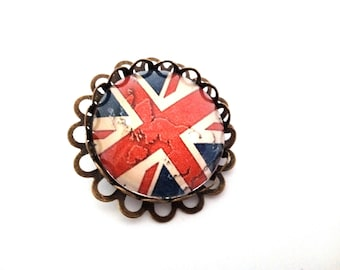 PIN model flag English glass cabochon