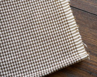 Houndstooth Cotton Fabric - by the yard, Vintage Cotton Fabric, Rust Rustic Supplies, Brown White, Cottage Autumn Fall