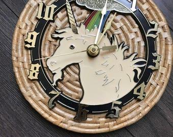 Retro Unicorn Clock   Unicorn Decor   Vintage Clock   Bohemian Decor