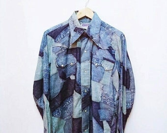 Hot Sale!!! Rare Vintage 90s LEW MAGRAM Denim Print Button Down Shirt Western Rodeo Hipster Large Size