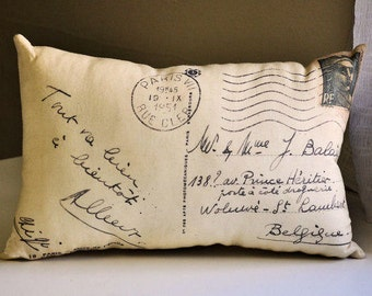 French script postcard pillow, French decor